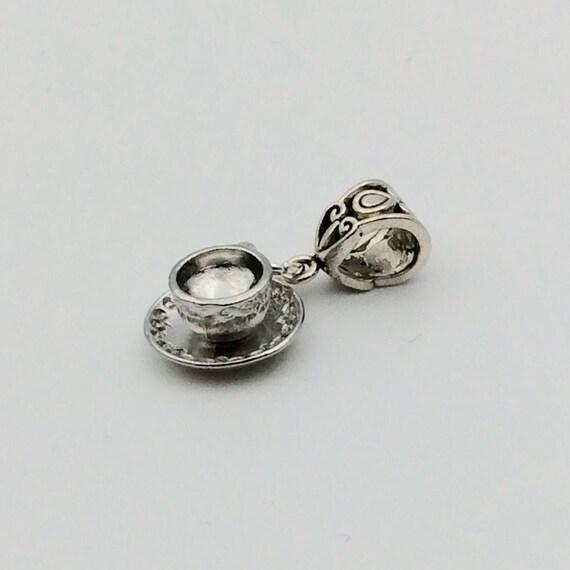 """JW Charm, Dangle """"Tea Break"""", European Style or Lobster Claw, Silver-tone.  Blue monkey velvet gift pouch"""