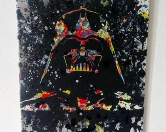 "Original 16"" x 20"" Darth Vader Abstract Pop Art Painting"