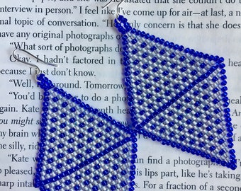 Diamond brick stitch hand made seed bead earrings