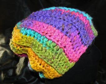 Crocheted Bright Rainbow Ribbed Slouchy Beanie Hat
