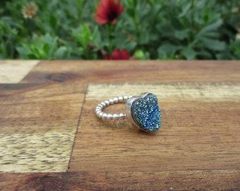 Druzy Aura Quartz Heart Ring / Aura Quartz Ring / Sterling Silver Ring / Crystal Druzy Ring / Crystal Cluster Ring / Rainbow Crystal Ring