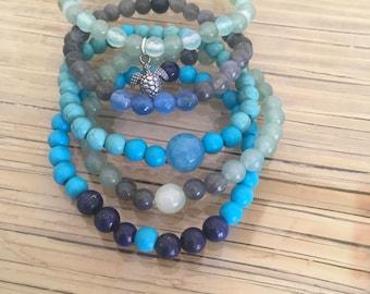 Agate, Blue Howlite, Lapis Lazuli, Magnesite, Green Aventurine and Labradorite Stacked gemstone bracelet with sterling silver turtle