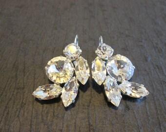Clear Crystal Statement Earrings/Swarovski Bridesmaid Earrings/Mother of the Bride/Swarovski Statement Earrings/Large Clear Crystal Earrings