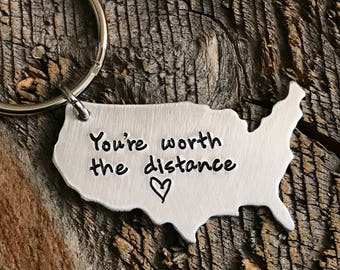 Long distance relationship gift long distance boyfriend gift long distance girlfriend gift state keychain usa keychain going away gift