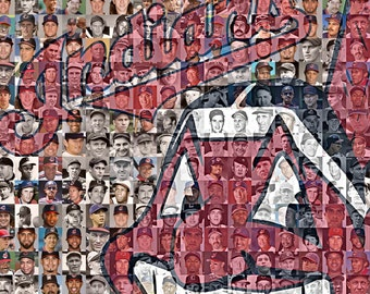 Cleveland Indians Mosaic Print Art Designed using over 200 Inidans Players from 1900-2017. Includes 2016 World Series Roster. Free Shipping