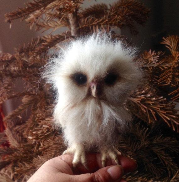 Made to order - Needle Felted Owl OOAK handmade whimsical wildlife fantasy  sculpture ornament  Bird figurine