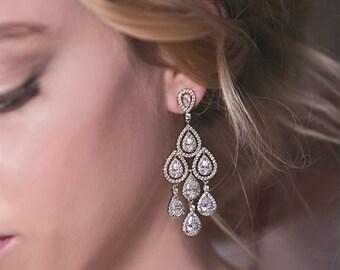 Bridal Earrings Teardrop Chandelier Earrings Wedding Accessories Bridal Jewelry Sets Long Drop Earrings Crystal Earrings Silver Jewelry E147