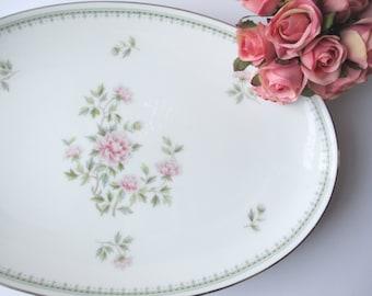 Vintage Noritake Serving Platter Jardine Pink Floral