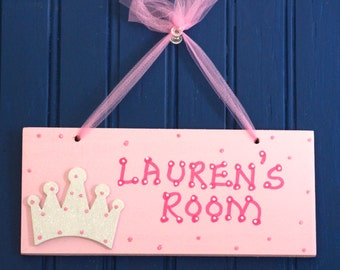 PRINCESS CROWN Room Sign, Hand Personalized Pink, Glittered White Crown. Girl's Room Decor, Girl's Name Sign, Kids Door Plaque, Door Sign.