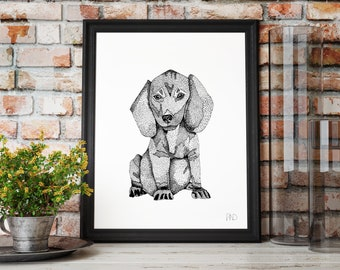 Hand-drawn Dachsund Puppy Print. (Limited Edition)