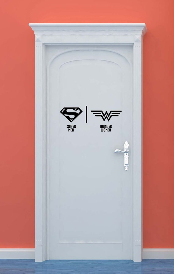 Bathroom Restrooms Sign Men Women Superman Wonder Woman