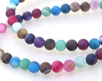 """Charm Newest Charm multicoloured blue pink green Agate Round 6mm Gemstone Beads One strand 15.5"""""""