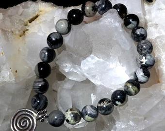 Beaded Bracelet for Strength & Courage - Black Sardonyx