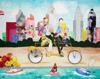 Custom Family Portrait New York City - Large Mixed-media Custom Illustration - Choose any City