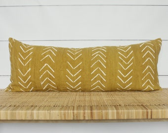 Mudcloth Pillow Cover | 14x36 Yellow Mudcloth | No468