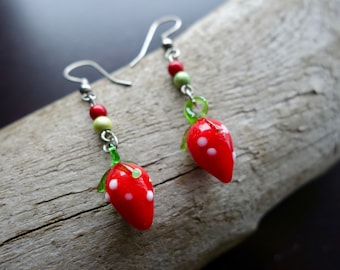 Red Strawberries Glass Bead Earrings | Fruit Dangles