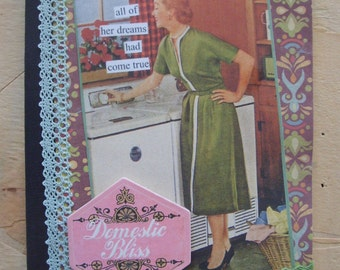 Retro Inspired Domestic Bliss Journal Altered Composition Book