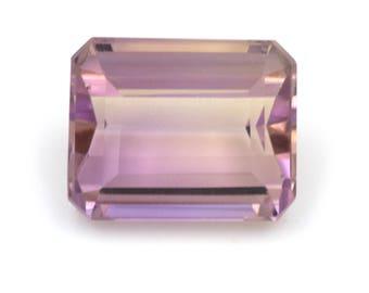 Emerald-cut natural ametrine, weight: 3.75 ct.