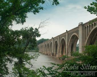 Richmond Va James River Railway Bridge, Train Photo Virginia Landscape Photo Art, Framed Photography Option