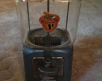 1950's Oak Acorn Gumball Machine