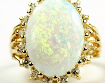 Created White Opal, 16 CZ accents, 14K Gold Ring, R270