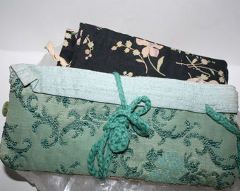 2 vintage jewelry cases, travel cases, cloth handmade circa 1930s