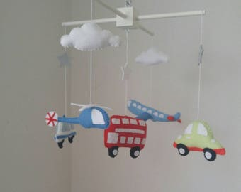 Transport baby mobile, cars, bus, helicopter and aeroplane baby mobile- made to order