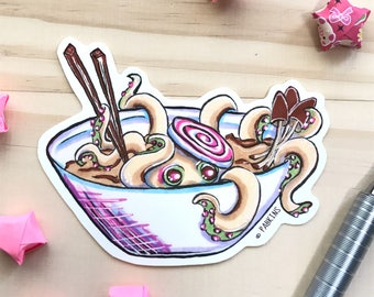 Octopus Noodle Bowl, Ramen, Noodle - Vinyl Sticker of original illustration