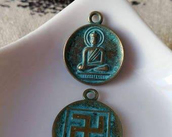 Antique bronze Buddha pendant charm