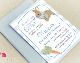 Blue Bunny Invitations · A6 FLAT · Birthday Party   Baby Shower   First Birthday   Easter Egg Hunt