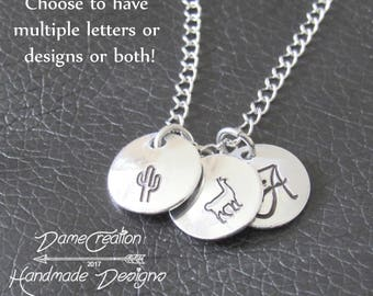 Personalized Initial Necklace Pendant, Personalized Cactus Gifts, Charms Initial Pendant Necklace, Initial Charms Necklace Silver Jewelry