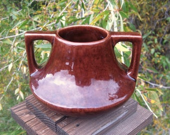 Haeger Pottery Eve Vase, Arts and Crafts, Craftsman Style 1920s, Antique American Art Pottery, Chocolate Brown