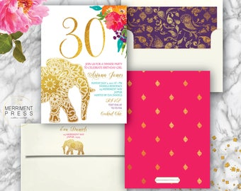 Indian themed 30th Birthday Invitation // Bollywood // Elephant // Paisley // Gold // Thirty // Pink // Orange / Purple / JAIPUR COLLECTION
