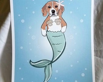 Mermaid Beagle - Eco-Friendly 8x10 Print