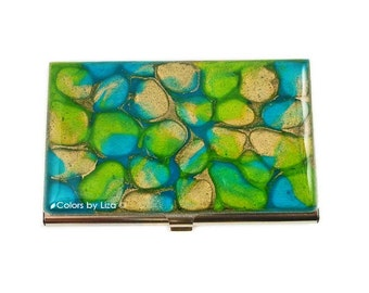 Business Card Case Hand Painted Enamel Turquoise and Gold Peacock Inspired Metal Wallet Custom Colors and Personalized Options