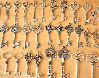 100 Vintage Style Skeleton Keys Collection Antique Silver