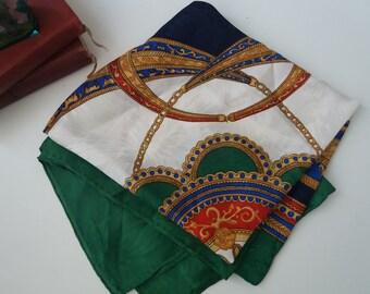 Vintage silk scarf| hand rolled scarf | silk scarf