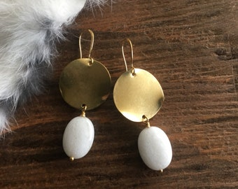 Wavy Brass Disc White Jade Earrings