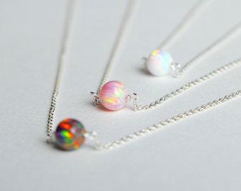 Opal necklace, dainty opal jewelry, October birthstone