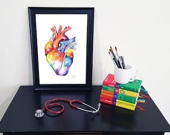 Médico anatomía corazón arte-acuarela pintura - tallas grandes
