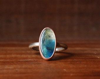 6.75 gem silica gemstone ring | oxidized silver + raw copper bezel setting | OOAK metaphysical stone