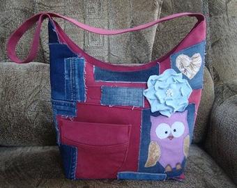 Shoulder bag owl, handbags, crossbody purse, everyday bag, crossbody womens bag, designer handbags, Bag, denim bag with magnet button