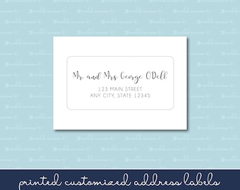 """Handlettered Adhesive Response Card Address Labels 2x4"""", Calligraphy, Script, Many font choices"""