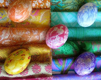 Easter egg dyeing silk, sari silk remnants, silk pieces, silk squares, Easter eggs