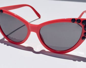 "Red Cat Eye ""Hidden Mickey"" Sunglasses - Customizable"