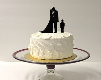 MADE In USA, Bride + Groom + Child Boy Wedding Cake Topper Family of 3 Silhouette Wedding Cake Topper Bride Groom Child Bride Groom Son