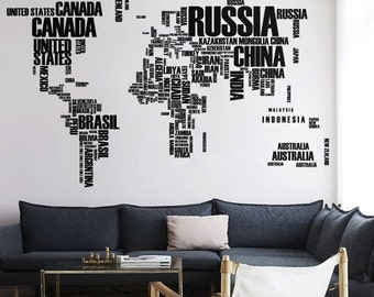 Removable vinyl wall tree decals by onwallstudio on etsy world map wall decal with country names removable vinyl map wall decal vinyl sticker wm008 gumiabroncs Images