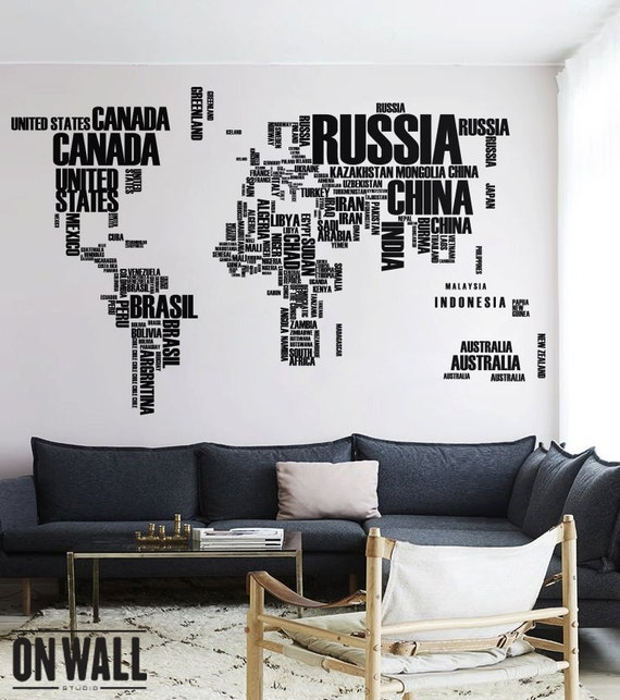 World map wall decal with country names removable vinyl map gumiabroncs Choice Image