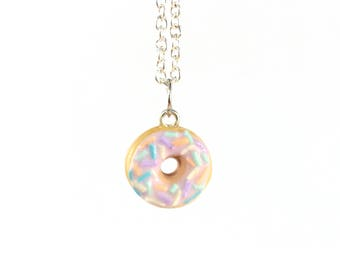 Pastel sprinkles and pastel pink donut necklace