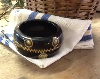 Black Lucite Bracelet with Zipper and Grommets